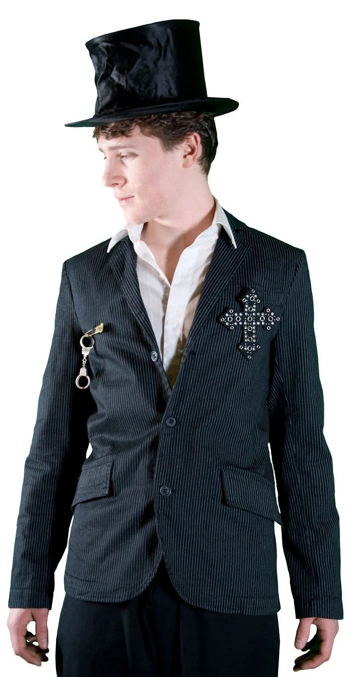 Tripp NYC men's upcycled pinstriped jacket with vintage pin and cross pin