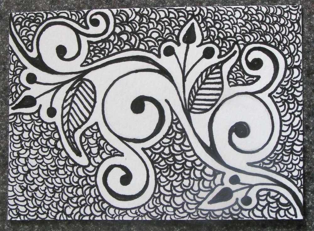 Black and White Swirly ACEO Well,