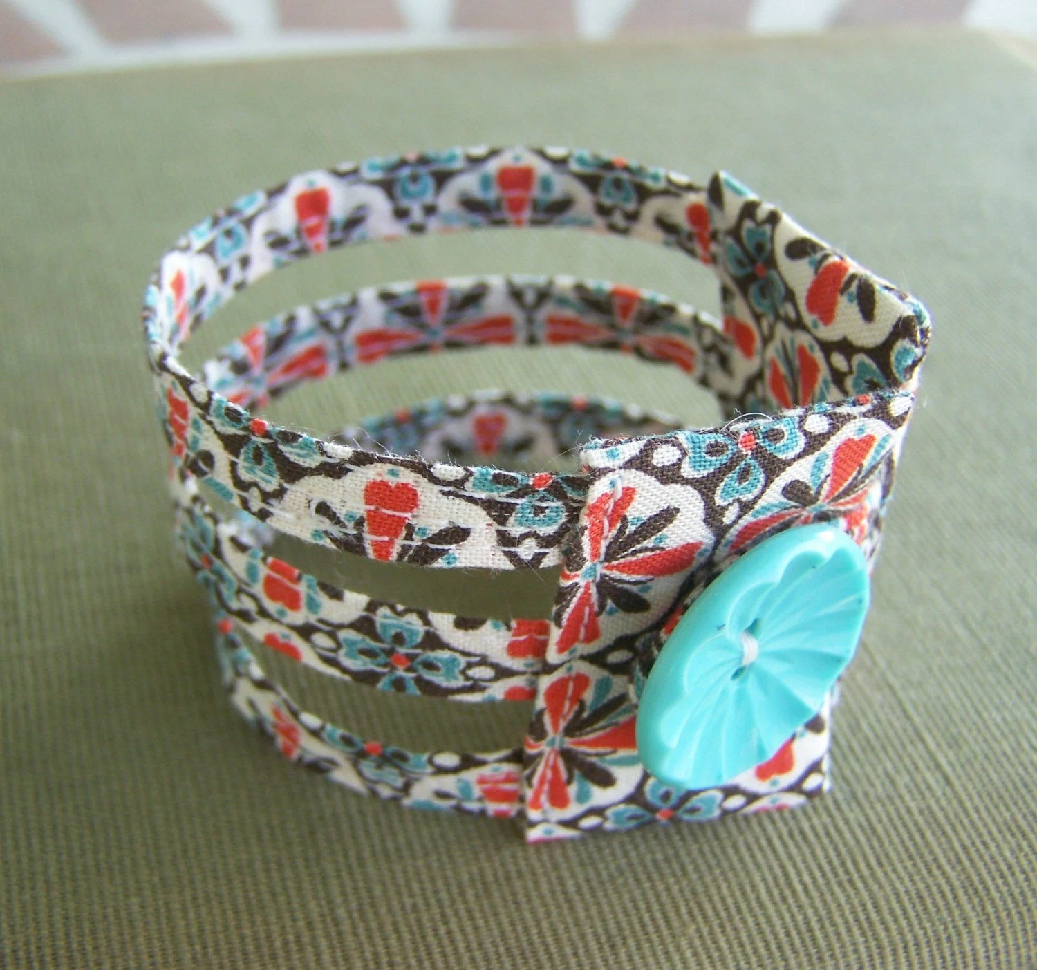 Triple strand retro print fabric cuff bracelet in the best colors ever