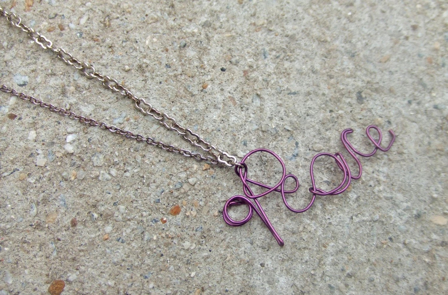 Purple Peace Nameplate Necklace $13