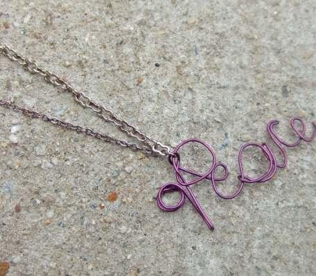 Purple Peace Nameplate Necklace $13