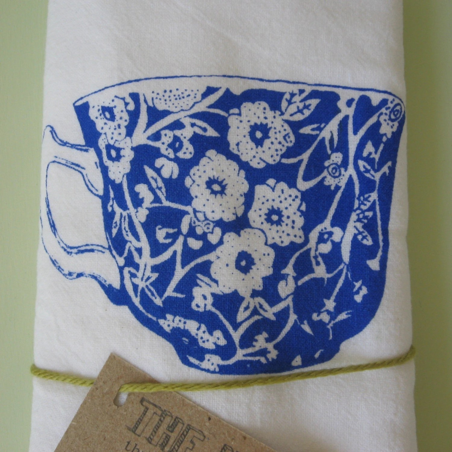 The Heated Teacup - Electric Blue on White Dishtowel
