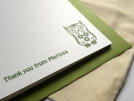 eco friendly owl stationery ( custom/personalized ). set of 10
