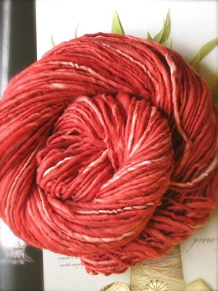 CRIMSON - handspun and handpainted pure merino yarn by pancake and lulu