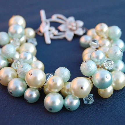 Honeydew and Lemon Bubbles Pearl Bracelet