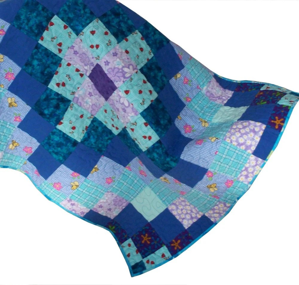 Flannel Sea Turtles Baby Quilt Handmade by GloryQuilts