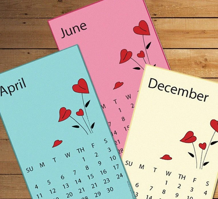Red Flowers - Printable 2010 Calendar