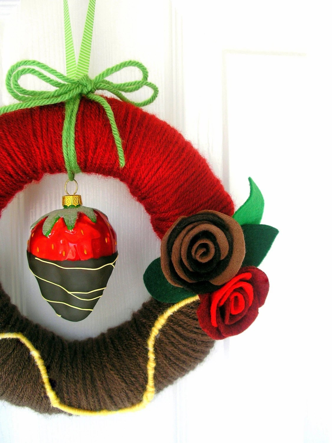 Chocolate Dipped Strawberry Yarn Wreath