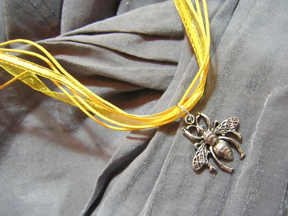 Silver Bee on Yellow Fancy Ribbon Necklace - Handmade by Rewondered D225F-00005 - $9.95