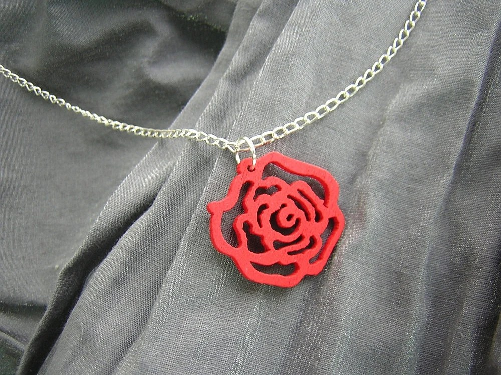 Painted Wooden Rose Simple Charm Necklace on Silver Chain - Your Choice of Colors - Handmade by Rewondered D225N-00848 - $7.95