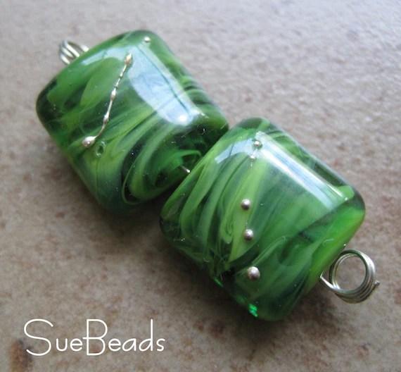 Lampwork Beads - SueBeads - Kiwi Sparkle Nugget Earring Pair - Handmade Lampwork Beads - SRA M67