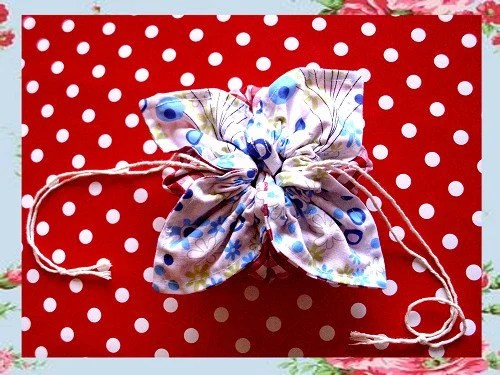 Shabby Chic Gingham and  Floral Drawstring Flower Bag (Sm)