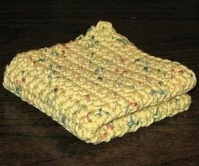 Crocheted Cotton Dishcloth - Yellow with Blue and Pink Speckles