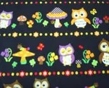 Japanese Fabric- Owls on black (1 fat quarter)