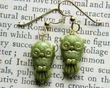 Retro Owl Earrings ala Green and Gold