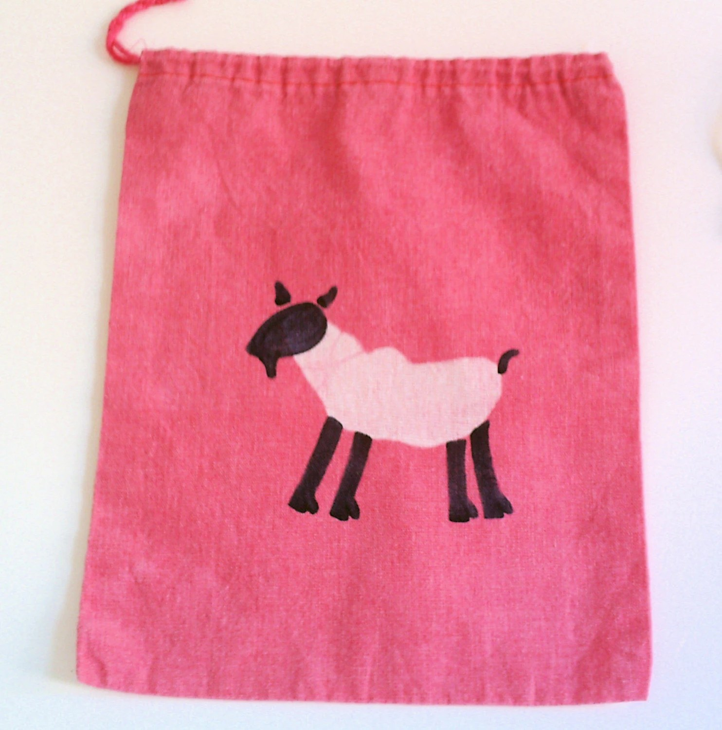 FREE SHIPPING batik GOAT mini project or notion drawstring bag NO TEXT