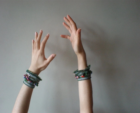 Brace ... Freeform Crochet Cuff / Necklace - Flowers