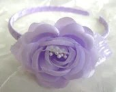 Light Purple Satin/Chiffon-Flower Headband