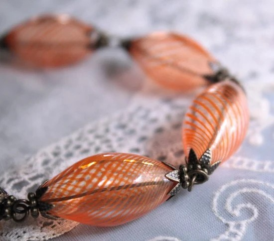 Peachy  Blown Glass Necklace with Antique Brass Details