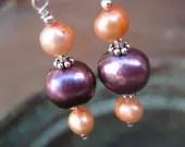 Papaya Passion freshwater pearl dangle earrings