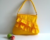 NEW Frilly Bag in Bright Yellow - NEW COLOR -..zippered closure..