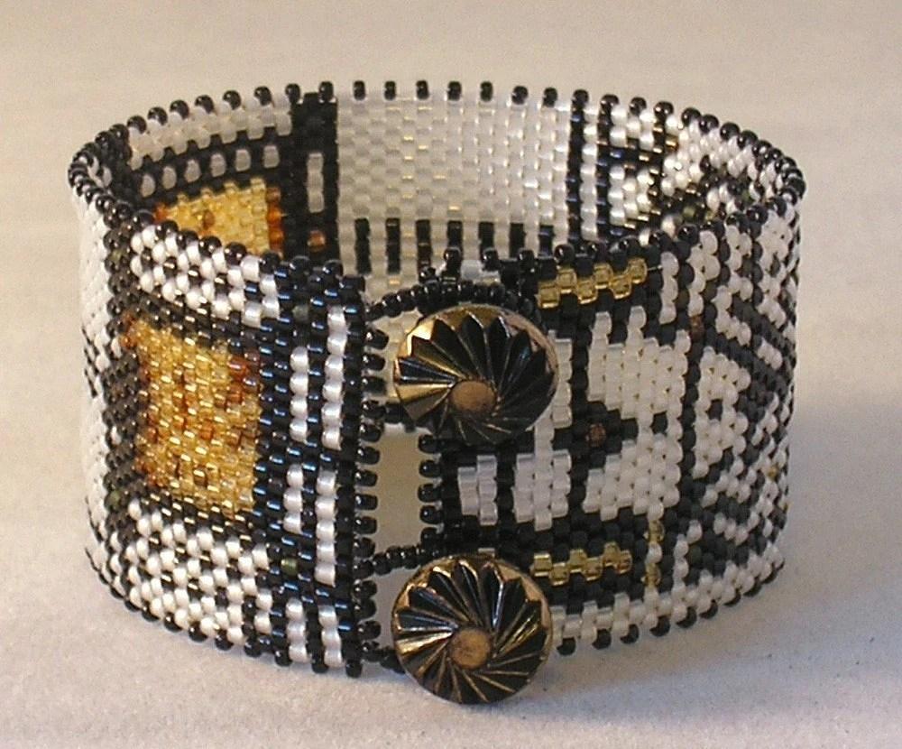 Hannah Rosner cuff bracelet bead pattern peyote stitch Frank Lloyd Wright