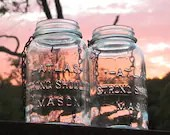 Set of Two Vintage  Atlas Mason Jars Hanging Lantern or Vase