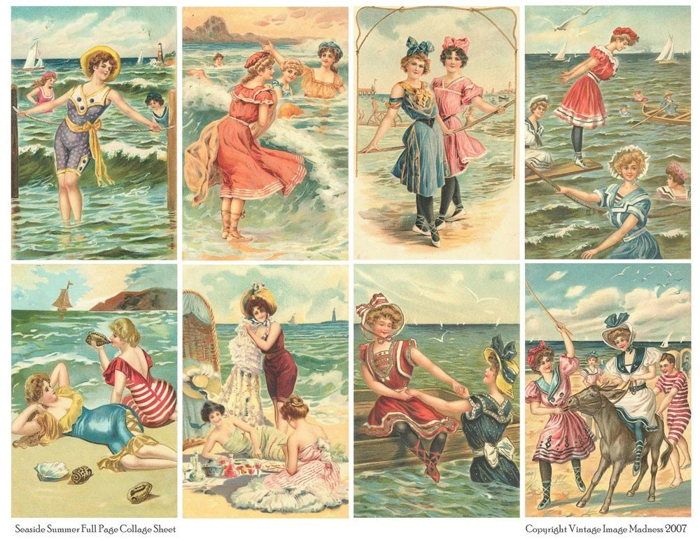 SEASIDE SUMMER Vintage Postcards - Downloadable Full Page Collage Sheet