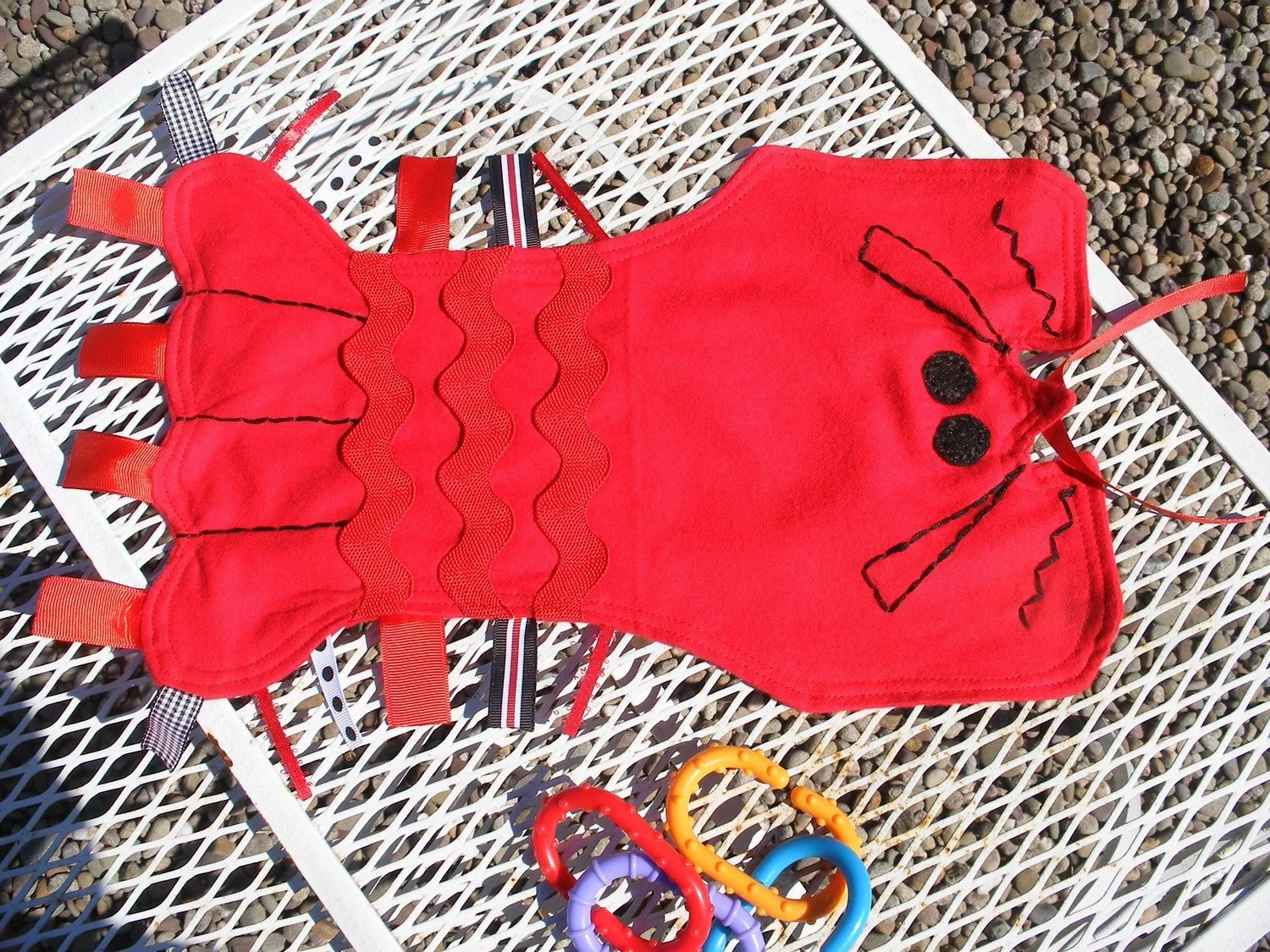 Maine Lobster Ribbon Tag Blankie Blanket Lovey Lovie Baby Gift in Red and Black