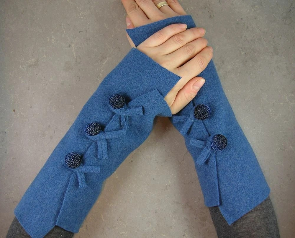 Fingerless mittens arm warmers in slate blue recycled wool