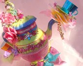 Giant 2 ft Alice Mad Hatter Tea Party Tea Pot Top Hat Centerpiece Wonderland Party prop