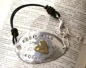 Obeir a la Coeur Silver Stamped Bracelet