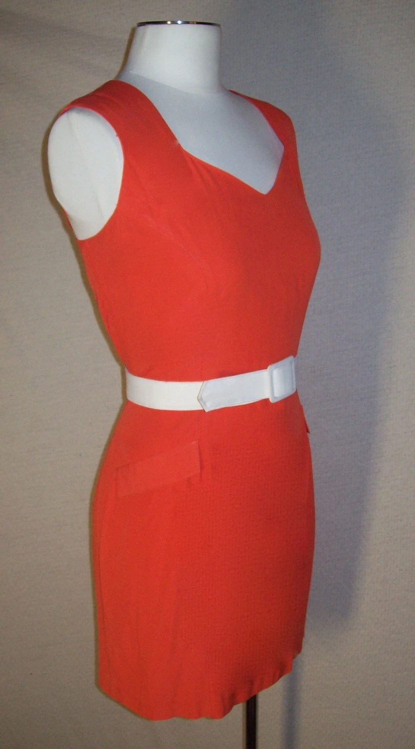 60's The Velma- Burnt Orange Mod Mini Dress