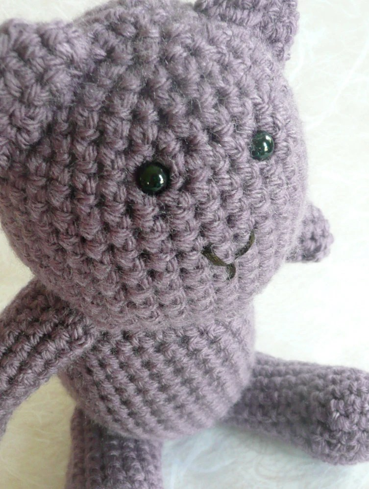 "Purple crochet teddy bear - 9"" tall"