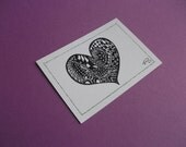 Original ACEO Ink Drawing, Heart Zendoodle