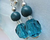 Turquoise Blue Earrings : Glass / Wood / Czech Glass Bead Dangle Silver Plated Earrings