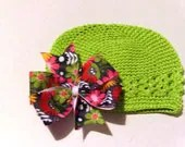Crocheted Hat with Detachable Bow