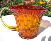 Trendy, Retro, Vintage, Antique, ORANGE Amberina / Tangerine Pitcher Collectible -- Like an Exquisite summer Sunset captured in Glass - unique Beautiful one of a kind gift