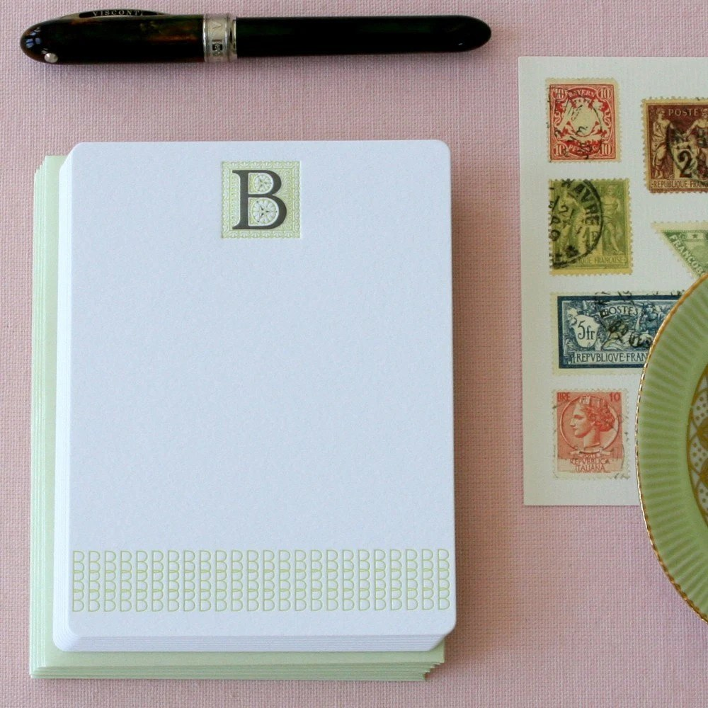 Letter B Initial Letterpress Note Card Set
