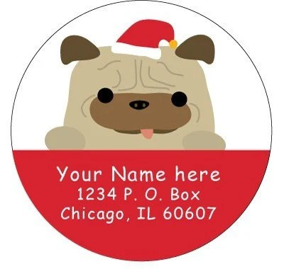 50 Personalize Holiday Address Labels - Pug Santa
