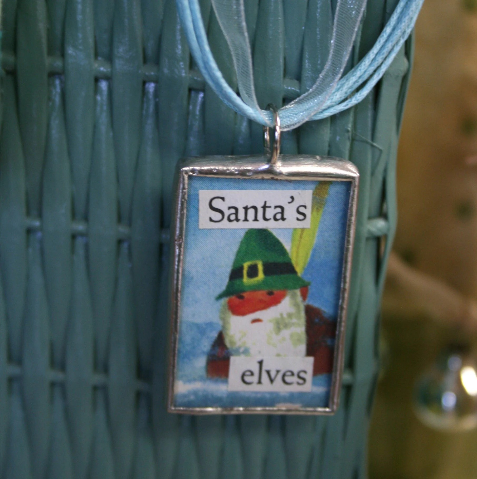 Santa's Elves - Soldered Pendant with Ribbon Necklace