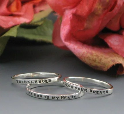 Tiny Text - Thin Posey Ring - custom made with your choice of inscription in sterling silver by Kathryn Riechert