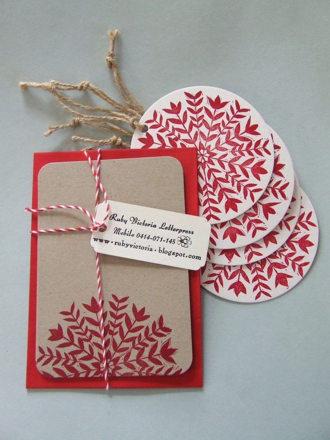 flora note cards with matching swing tags pack of 5