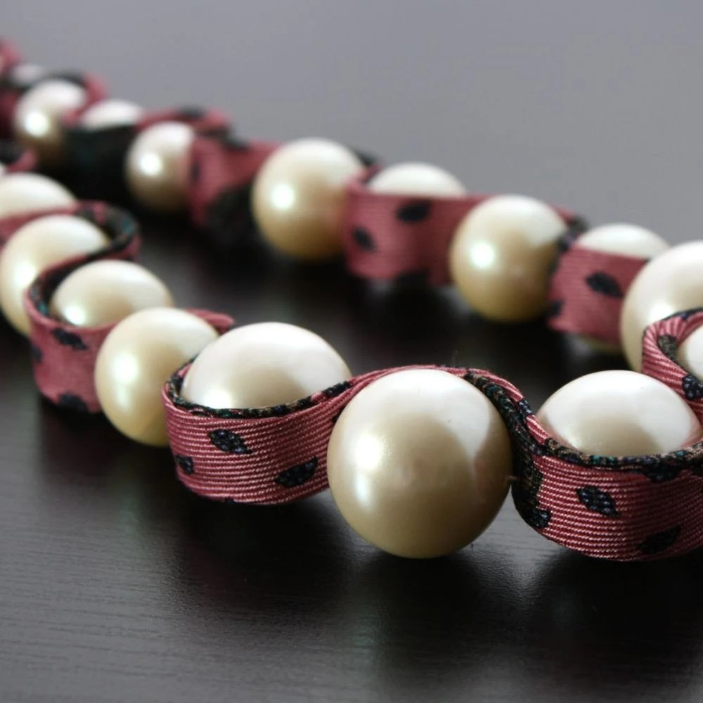 The Lady Industrialist - Vintage 50s Faux Pearls and Silk Tie Necklace