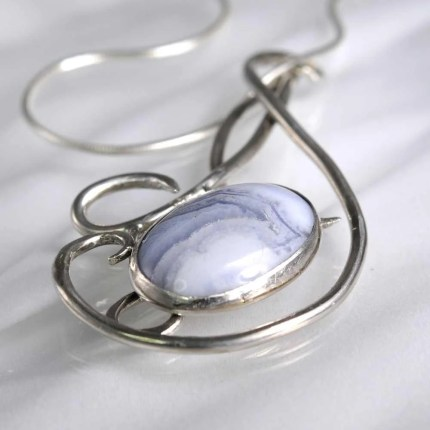 Celtic Inspired Blue Lace Agate Silver Pendant by Kaelin Design
