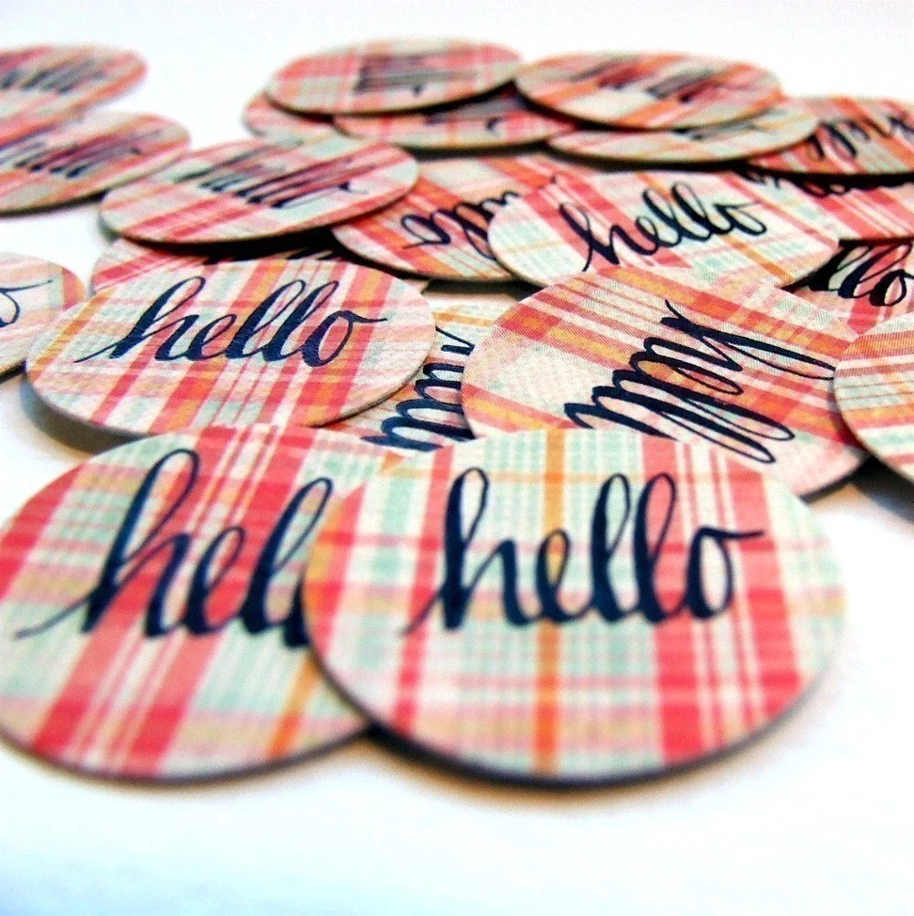 hello hand lettered envelope seals (20 total)