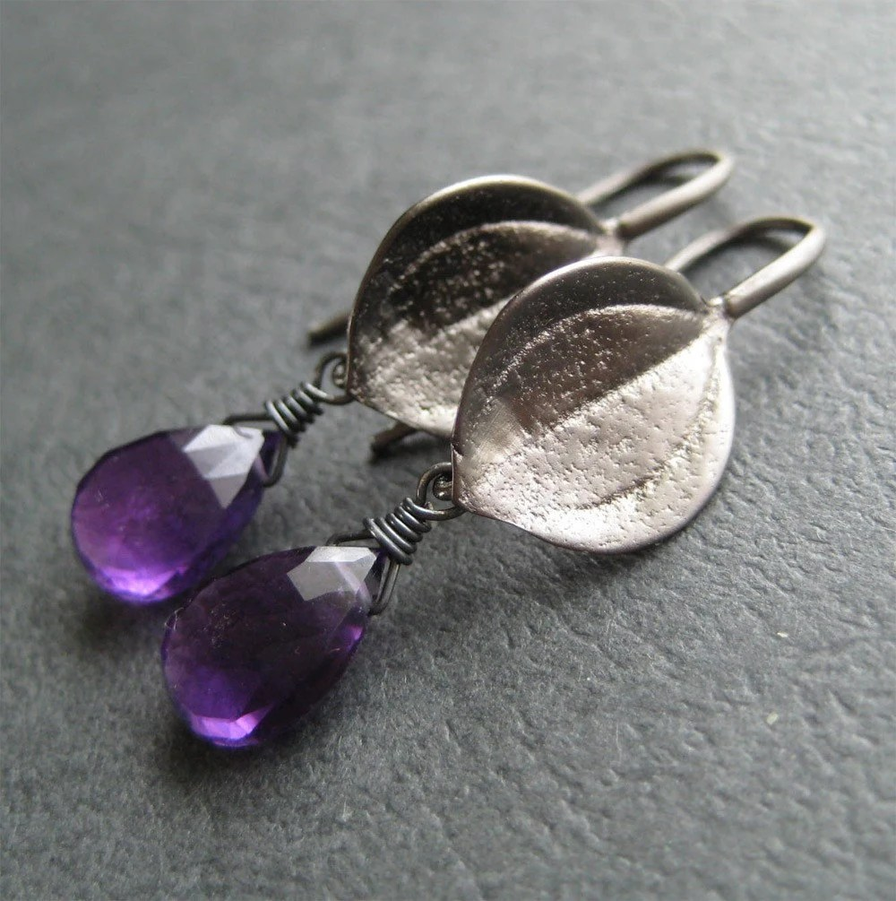 Faceted  Amethyst Briolette and Oxidized Leaf Earrings