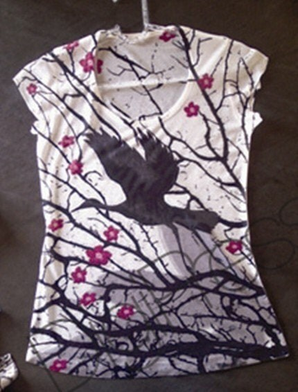 pink flowers black bird tie dye t-shirt cute beautiful flying spring fashion one side printed