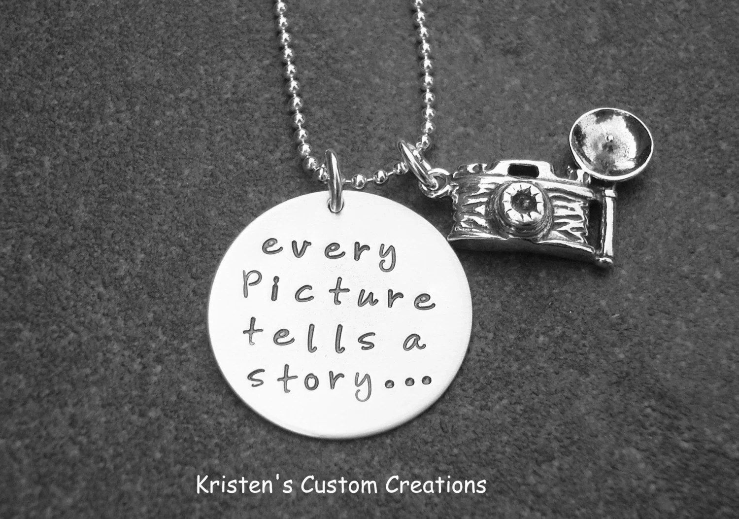 Every Picture Tells A Story Hand Stamped  Necklace