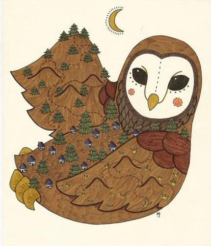 the village at owl original illustration